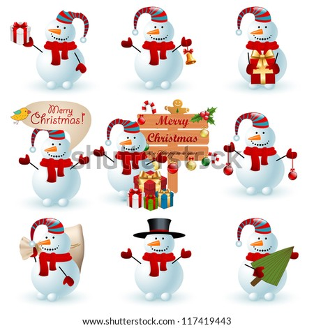 Collection of snowman. Check my portfolio for vector version.