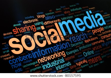 Collection of social media and networking related words on the black background