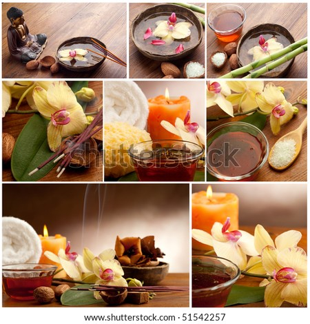 collection of spa concept and aromatherapy