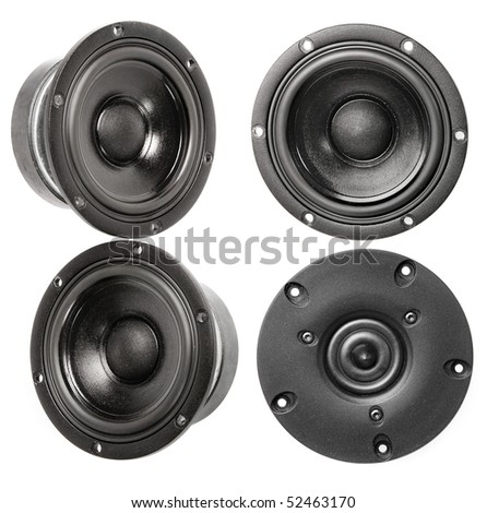 Collection of speaker HI Fi isolated on white background