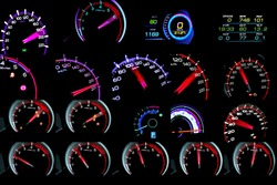 Collection​ of​ speedometer with​    speed of​ kilometers per hour of High lifters truck on car dashboard.Concept Driving fast is dangerous.​ Car Interior illumination.