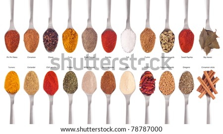collection of 22 spices on spoons (cumin, coriander, curry, paprika, chili, piri piri, cinnamon, fenugreek, cardamom, oregano, parsley, garlic, salt, cloves, garam masala, bay) isolated on white
