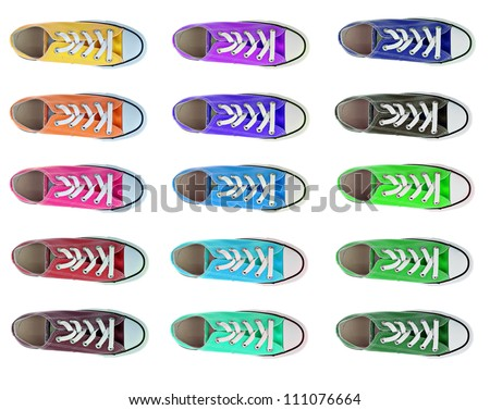 collection of sport shoes in different colors from above isolated