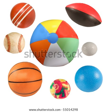 collection of sports balls isolated over white background