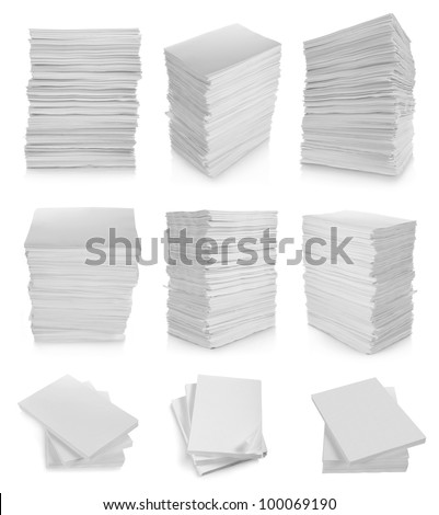 collection of stack paper in white background