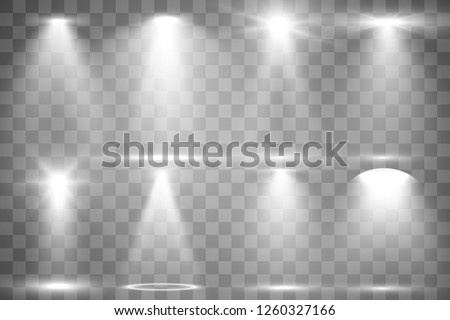 Collection of stage lighting, catwalk or platform, transparent effects. Bright lighting with spotlights. Light effect. Projector.  #1260327166