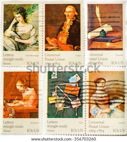 Collection of stamps printed in US in 1974 shows paintings ceries FAMOUS WORKS OF ART, the 100th anniversary of the Universal Postal Union