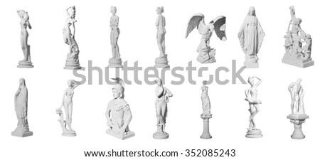 Collection of statues isolated on white background #352085243