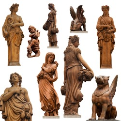 Collection of statues isolated on white background II.