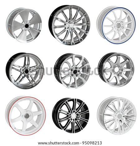 Collection of steel alloy car rim isolated on white. With Save path for Change the background for design work