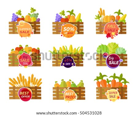 Collection of stickers for grocery sale. Fruits and vegetables sale in wooden boxes. Summer autumn fall sale conceptual banners. Editable element for design. Big sale offer.  illustration