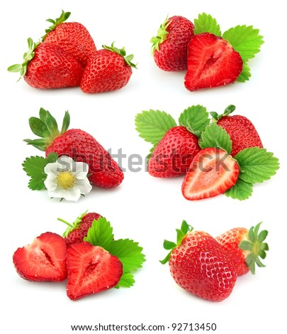 collection of strawberry fruits on white background