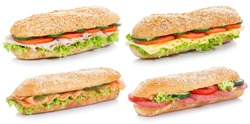 Collection of sub sandwiches with salami ham cheese salmon fish whole grains isolated on a white background