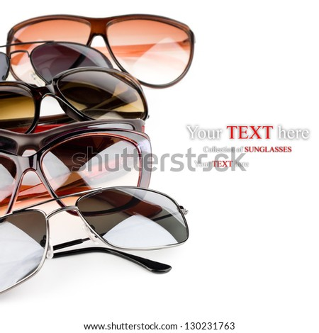 Collection of sunglasses on white background
