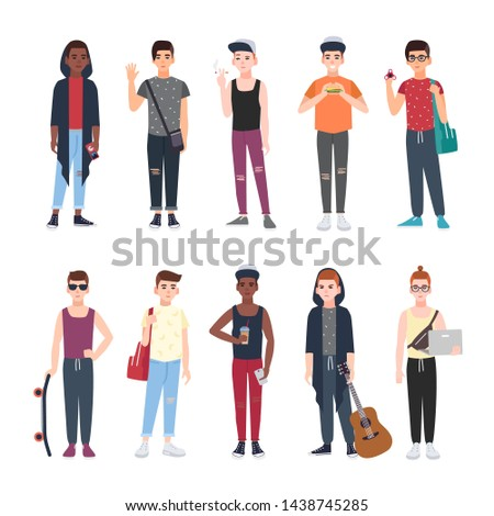 Collection of teenage boys dressed in trendy clothing isolated on white background. Set of male teenager cartoon characters with skateboard, fidget spinner, laptop, guitar. illustration.