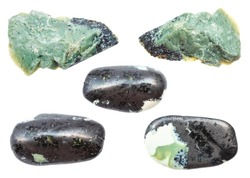 collection of Teisky Jade (Hantigyrite, khakassian serpentine) stones from Magnetite Serpentine Hematite natural minerals isolated on white background