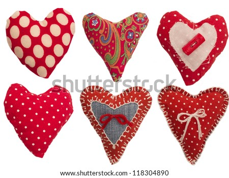 collection of textile red hearts