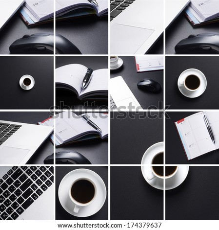 Collection of the business elements and devices on the table in office #174379637