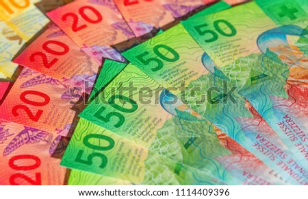 Collection of the new swiss banknotes