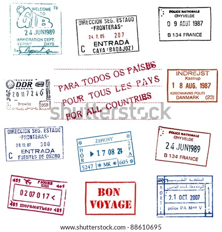 Collection of the Passport Stamps - stock photo