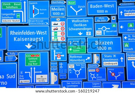 Collection of the swiss road signs