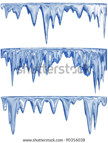 collection of three blue shade thawing icicles