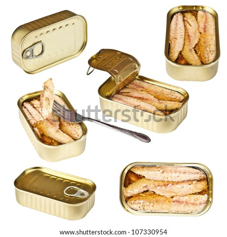 Collection of tin can whit mackerel isolated on white
