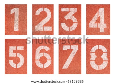 Collection of 1 to 8 ,Numbers on red running track