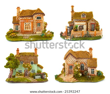 Collection of toys house isolated on white background