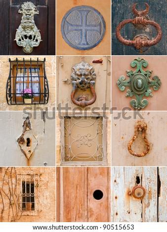 Collection of traditional keyholes, ornate door handles, unusual door hammers and window bars. Malta