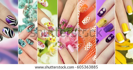 Collection of trendy colorful various manicure with design on nails with glitter,rhinestones,real flowers,stickers,turquoise and yellow French manicure.