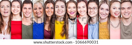 Collection of twelve people portraits  from young to old in colored shirts making a smiling face expression.