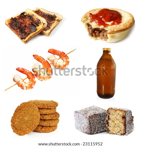 Collection of typically Australian food, plus a stubbie of Australian beer.  Vegemite toast, meat pie and sauce, prawns, Anzac biscuits, and lamingtons.