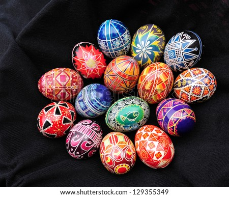 Collection of Ukrainian Easter eggs against dark background