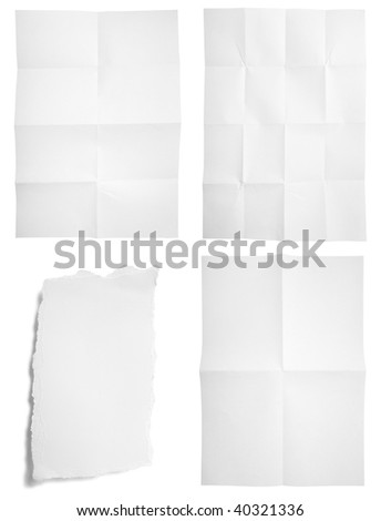 collection of unfolded and ripped paper on white background. each one is in full cameras resolution
