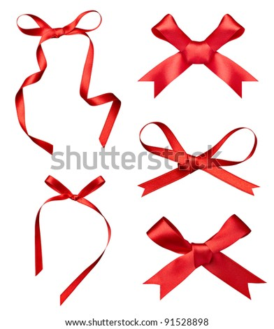 collection of various a silk ribbon knot on white background. each one is shot separately
