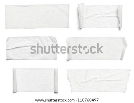 collection of various adhesive tape pieces on white background each one is shot separately