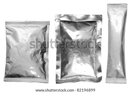 collection of various aluminum bags on white background