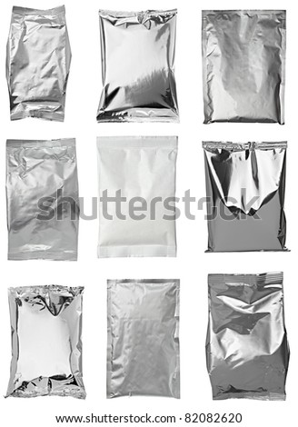 collection of various aluminum bags on white background. each one is shot separately