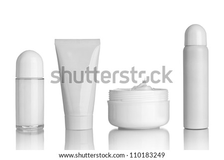 collection of  various beauty hygiene containers on white background