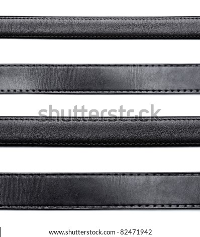 collection of various  black leather belt on white background. each one is shot separately