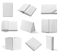 collection of various  blank white  books on white background. each one is shot separately