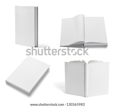 collection of various blank white books on white background each one is shot separately
