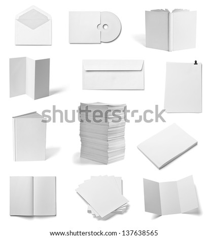 collection of various  blank white paper and book on white background. each one is shot separately