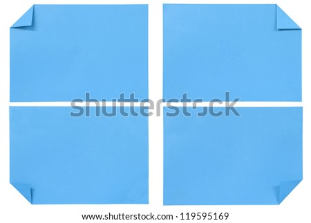 collection of various blue paper isolated on white
