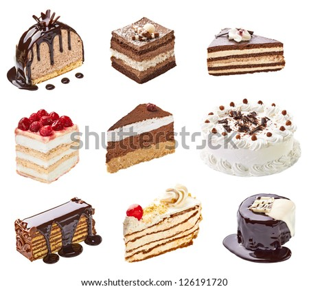 collection of  various cakes on white background. each one is shot separately
