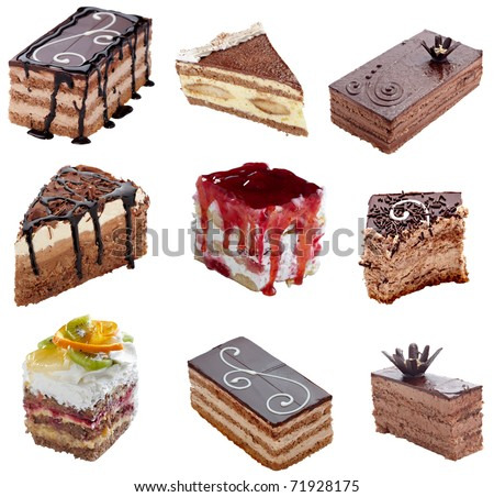 collection of various cakes on white background, each one is shot separately