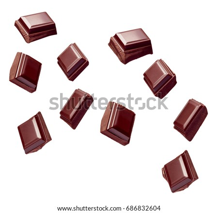 collection of various chocolate pieces on white background