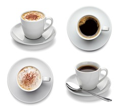 collection of various coffee cups on white background. each one is shot separately