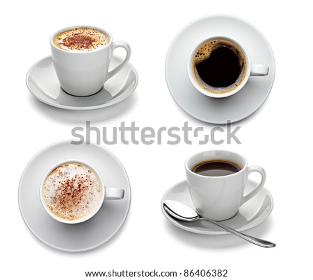 collection of various coffee cups on white background. each one is shot separately #86406382